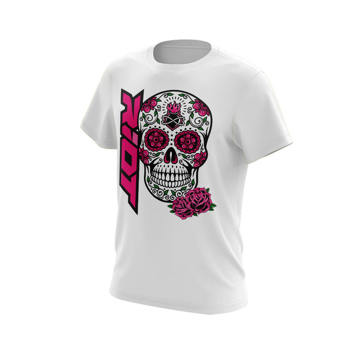 White Short Sleeve Shirt with Halloween Sugar Skull Riot Logo