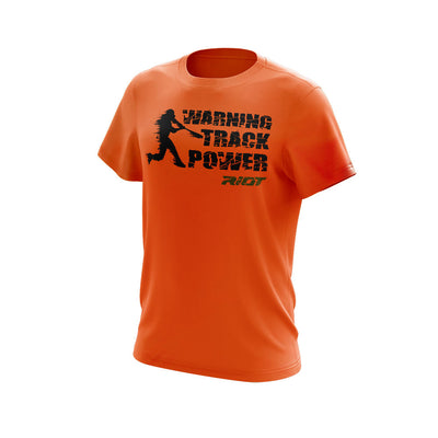 Neon Orange Short Sleeve with Warning Track Power Riot Logo
