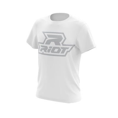 White Triblend Short Sleeve with Silver Riot Logo
