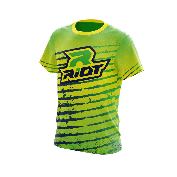 Multi-Color Navy Lime Yellow Full Dye Short Sleeve Riot Jersey