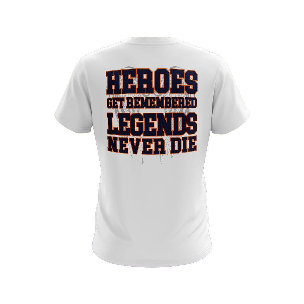 **NEW** White Short Sleeve Shirt of the Week with Legends Never Die Riot Logo - Choose your logo color