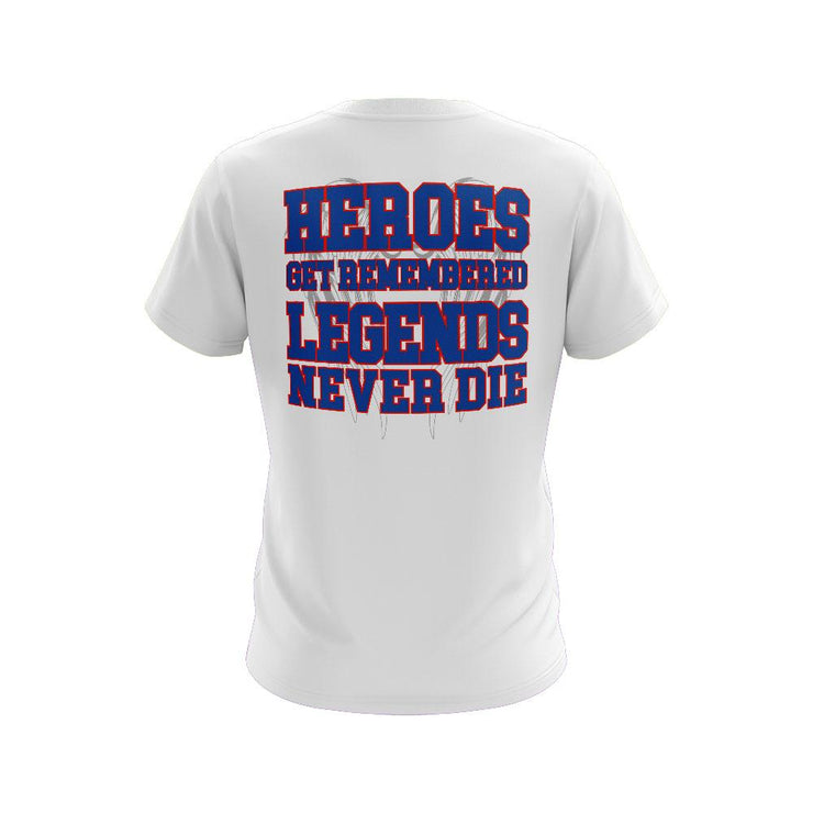 White Short Sleeve Shirt with Legends Never Die Riot Logo - Choose your logo color