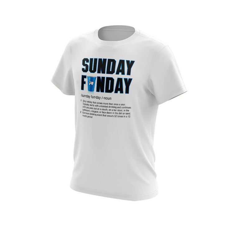 **NEW** White Short Sleeve Shirt of the Week with Sunday Funday Riot Logo