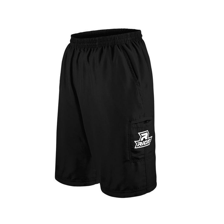 Black Shorts with Embroidered White Riot Logo