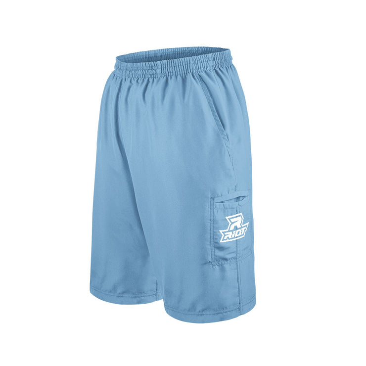 Carolina Blue Shorts with Embroidered White Riot Logo