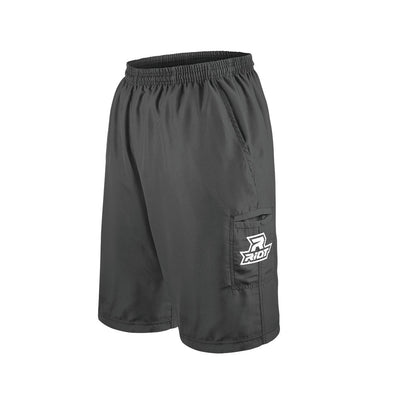 Charcoal Shorts with Embroidered White Riot Logo