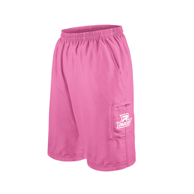 Pink Shorts with Embroidered White Riot Logo