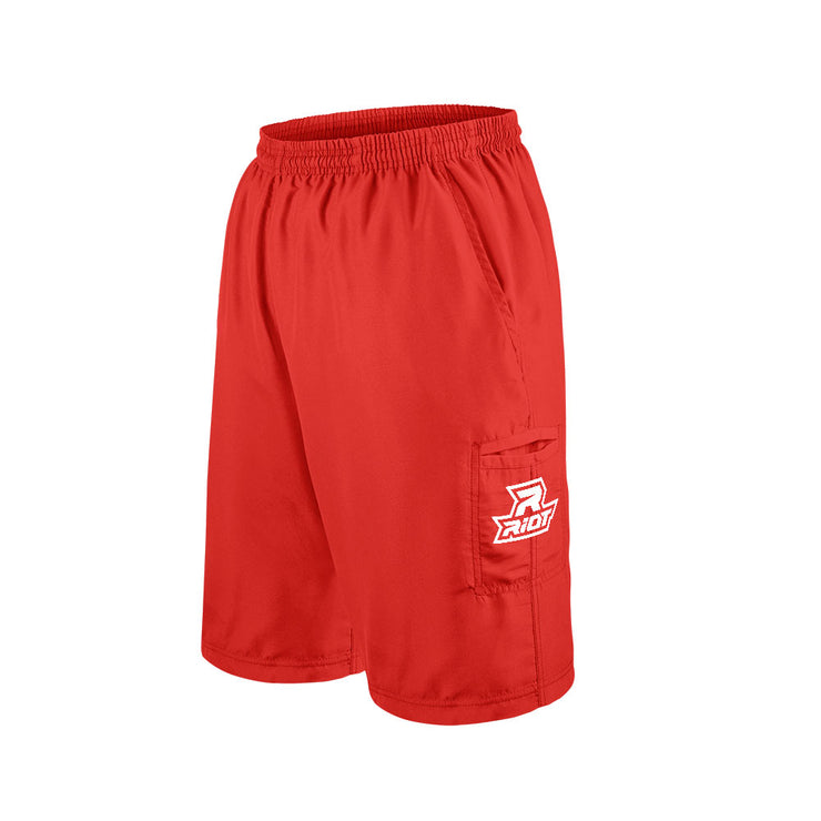 Red Shorts with Embroidered White Riot Logo