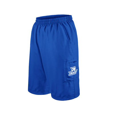Royal Blue Shorts with Embroidered White Riot Logo