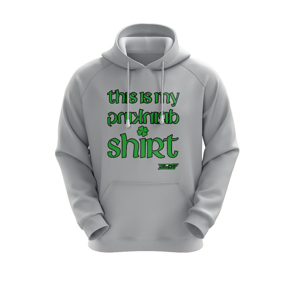 Heather Grey Hoodie with Riot St. Pattys Day Drinking Team Logo