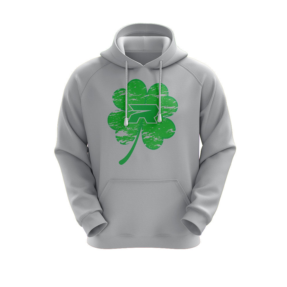 Heather Grey Hoodie with Riot St. Pattys Day Shamrock Logo