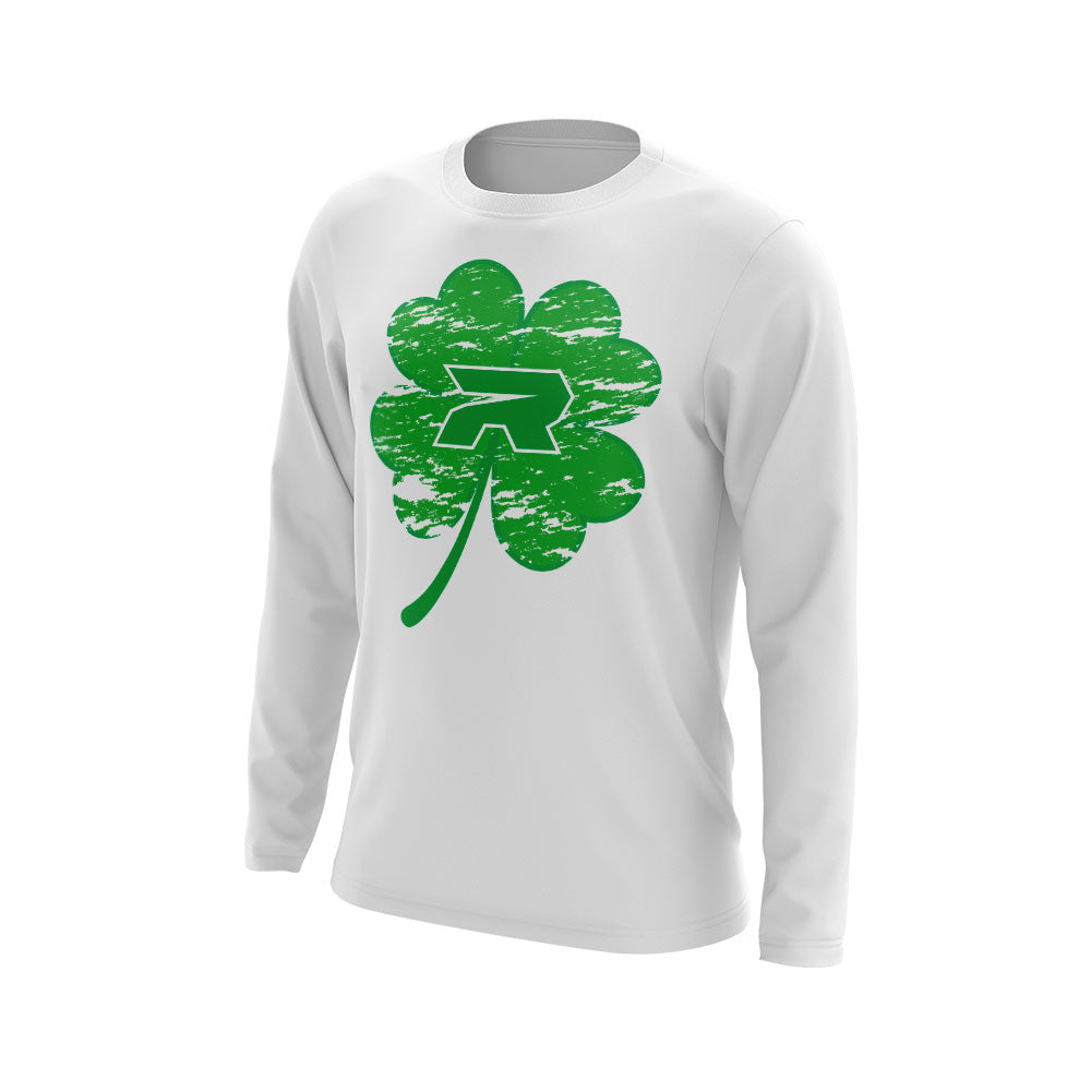 White Long Sleeve with Riot St. Pattys Day Shamrock Logo