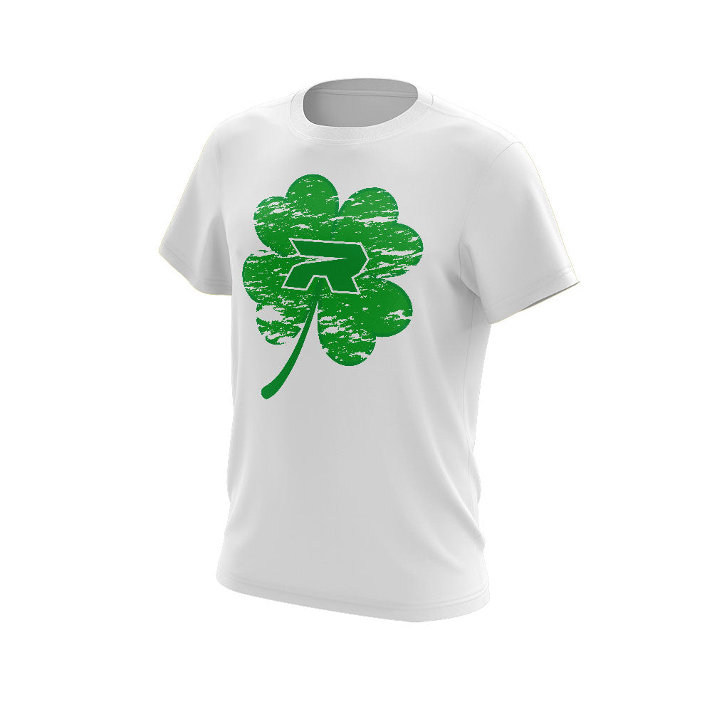 White Short Sleeve with Riot St. Pattys Day Shamrock Logo