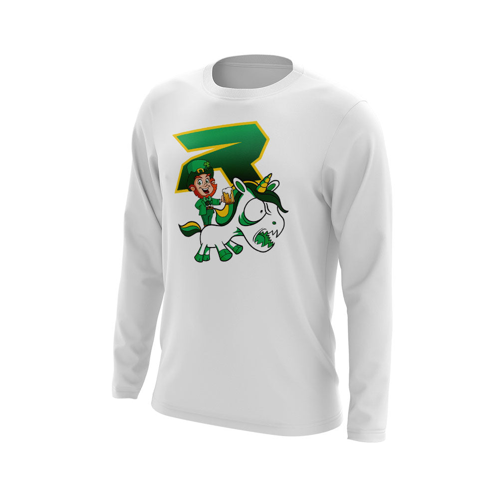 White Long Sleeve with Riot St. Pattys Day Unicorn Logo