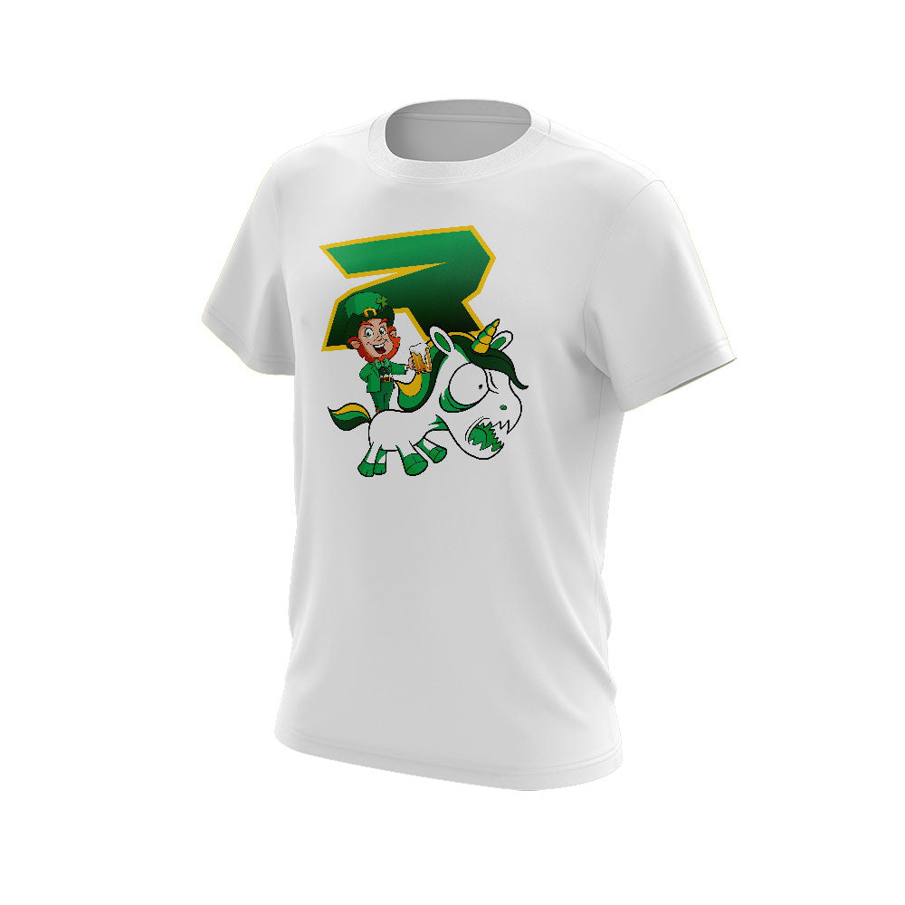 White Short Sleeve with Riot St. Pattys Day Unicorn Logo