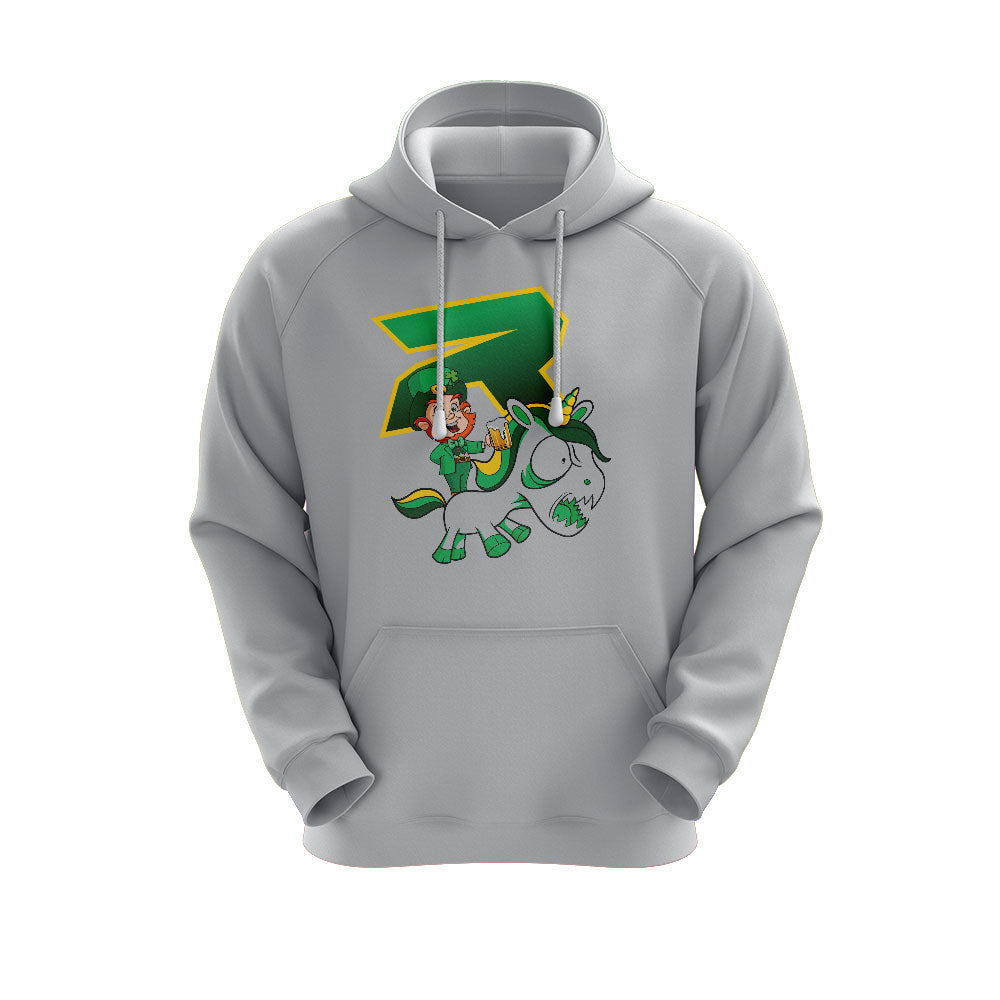 Heather Grey Hoodie with Riot St. Pattys Day Unicorn Logo