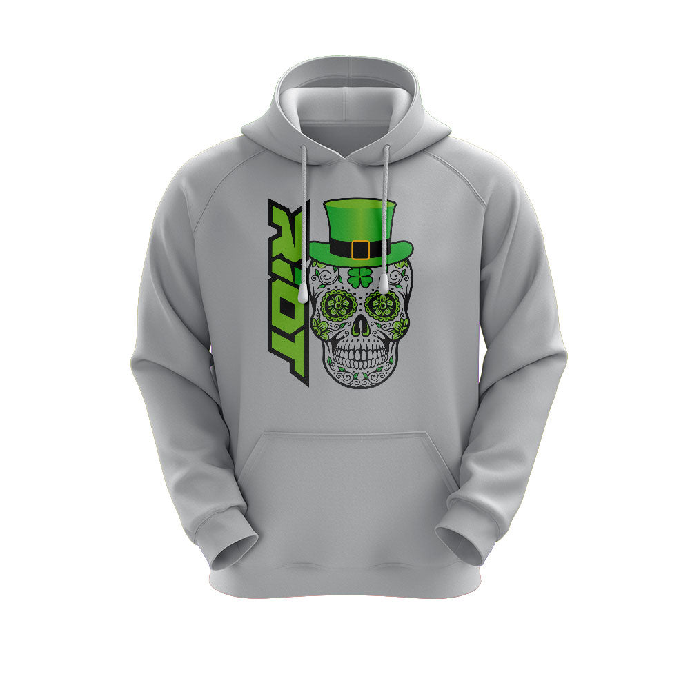Heather Grey Hoodie with Riot St. Pattys Day Skull Logo