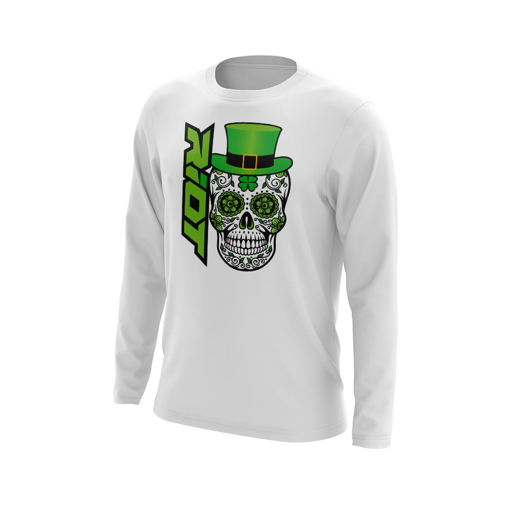 White Long Sleeve with Riot St. Pattys Day Skull Logo