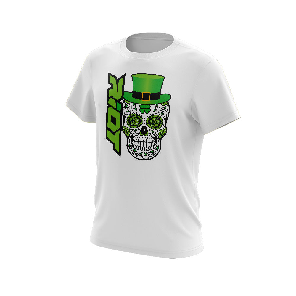 White Short Sleeve with Riot St. Pattys Day Skull Logo