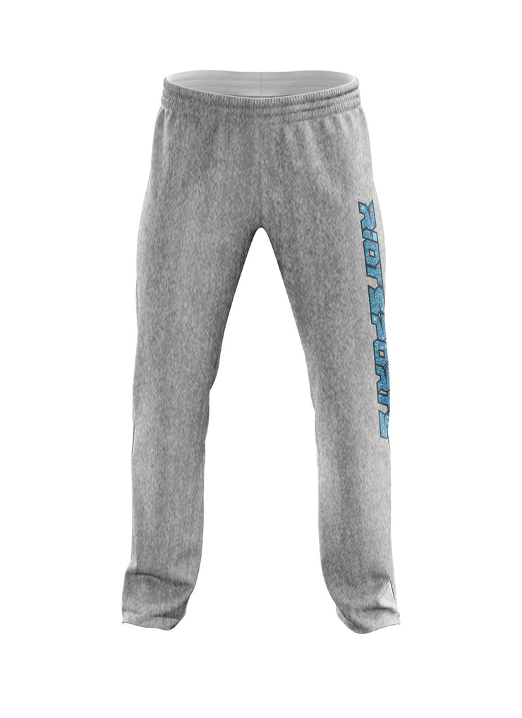 Heather Grey Sweatpants with Blue Glitter Riot Logo