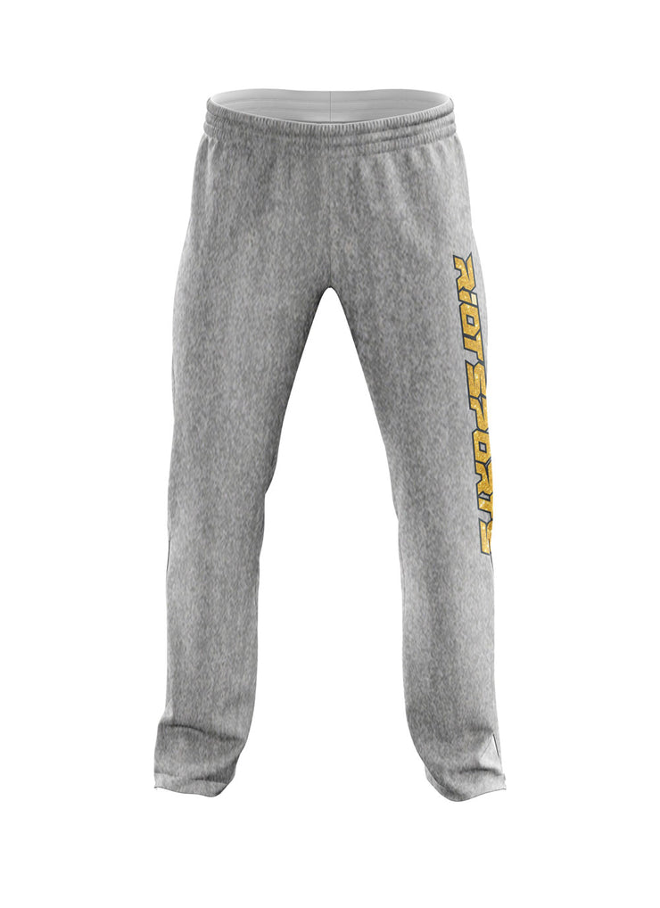 Heather Grey Sweatpants with Gold Glitter Riot Logo