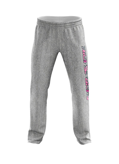 Heather Grey Sweatpants with Pink Camo Riot Logo