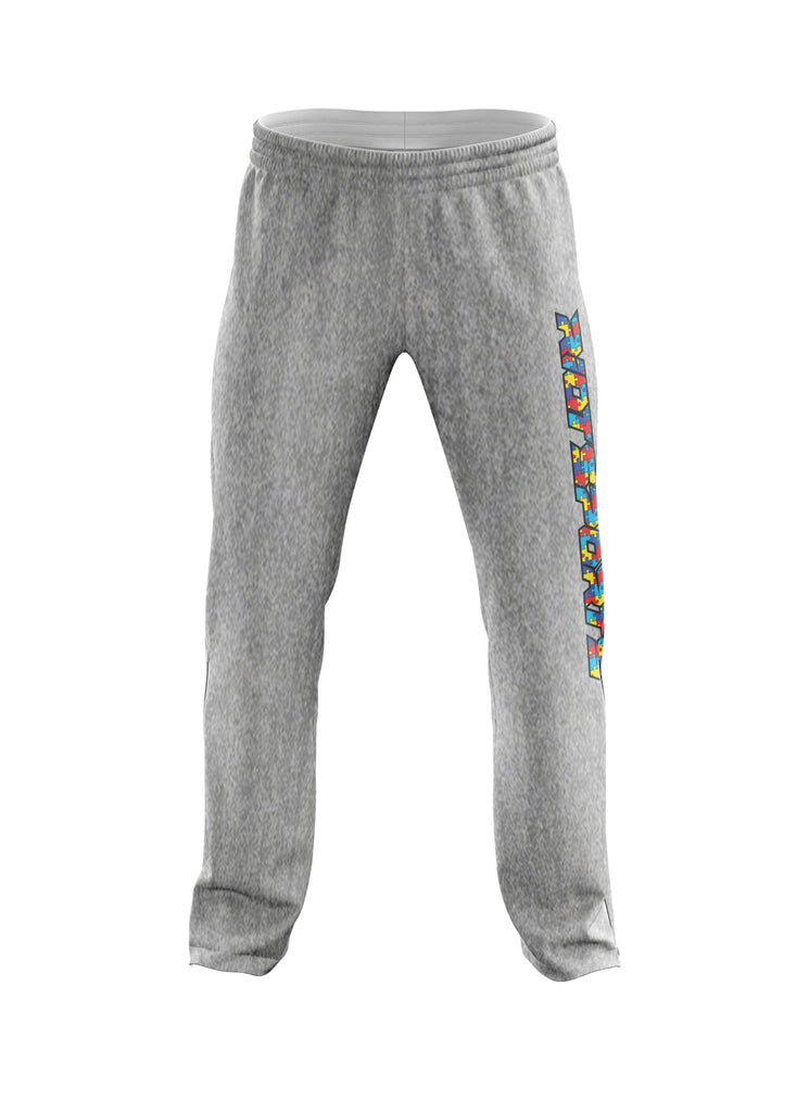 **NEW** Heather Grey Sweatpants with Vertical Autism Riot Logo