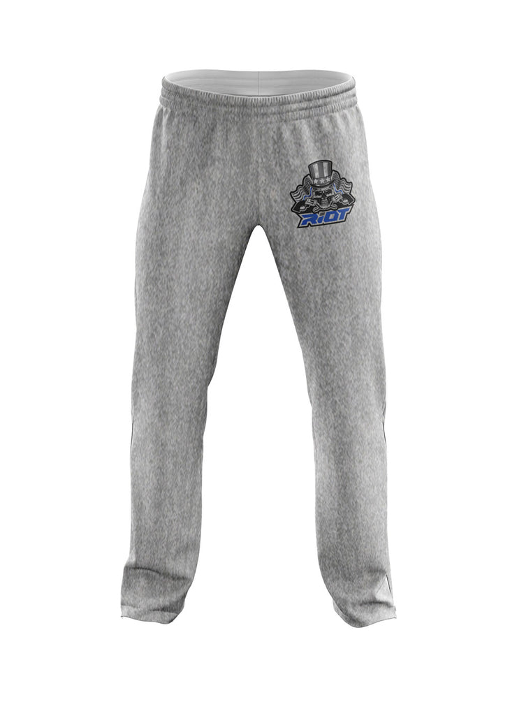 Heather Grey Sweatpants with USA Blue Line Skull & Guns Riot Logo