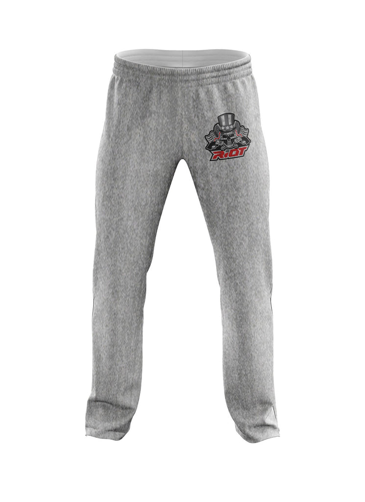 Heather Grey Sweatpants with USA Red Line Skull & Guns Riot Logo