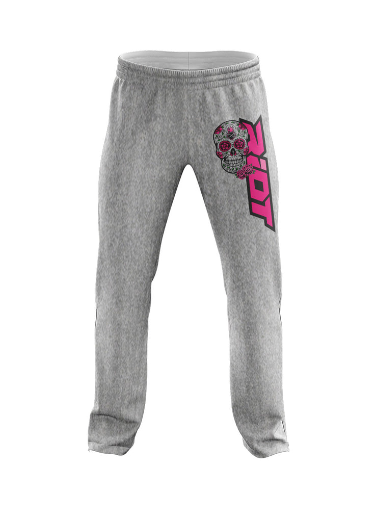**NEW** Heather Grey Sweatpants with Sugar Skull Riot Logo