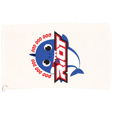 White Game Towel with Baby Shark Boy Riot Logo