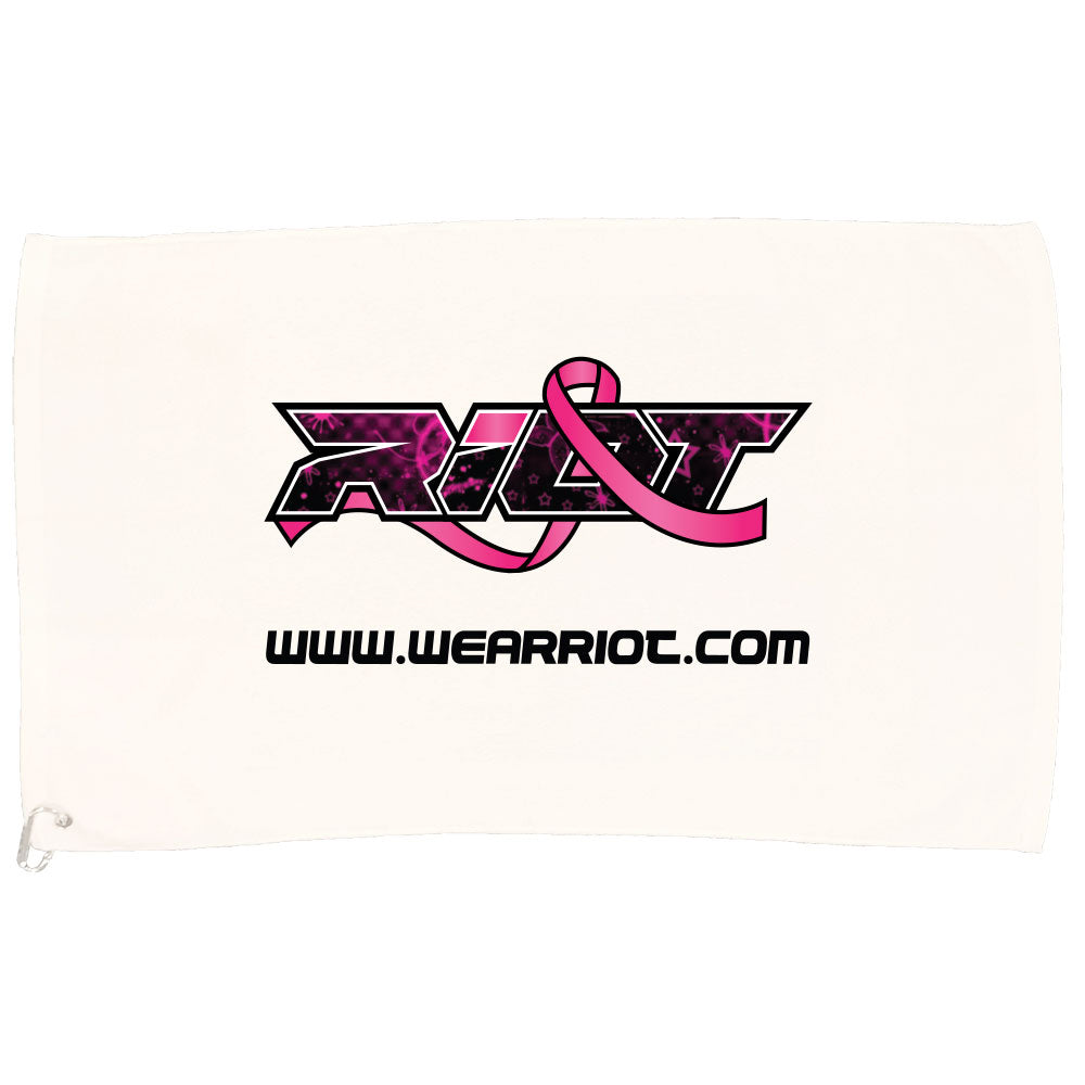 White Game Towel with Breast Cancer Ribbon Riot Logo