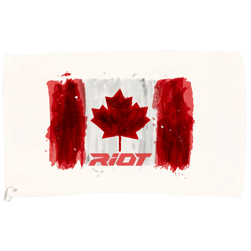 White Game Towel with Riot Canada Watercolor Logo