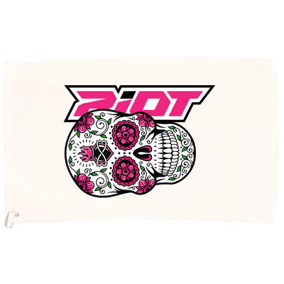 White Game Towel with Sugar Skull Riot Logo