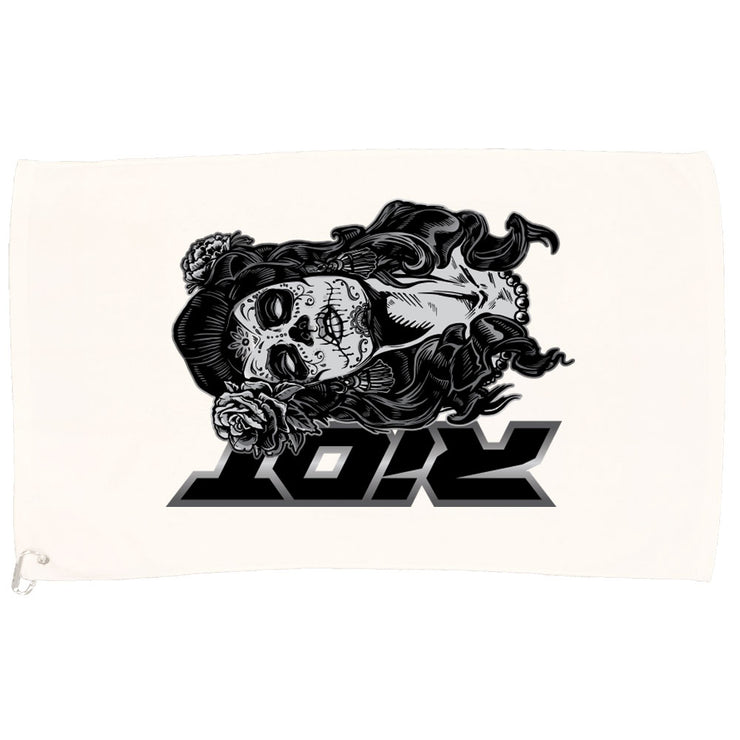 White Game Towel with Day of Dead Skull Riot Logo