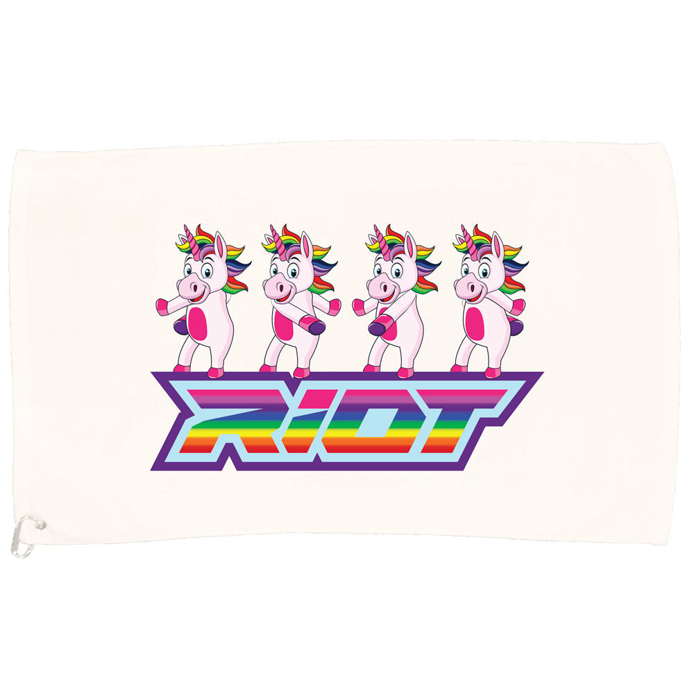 White Game Towel with Flossing Unicorn Riot Logo