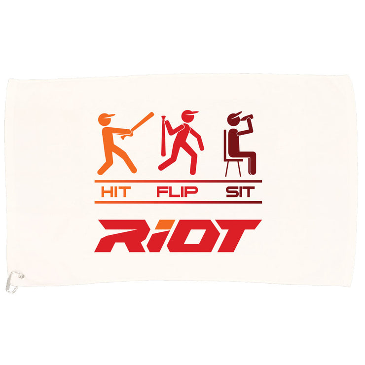 White Game Towel with Hit Flip Sit Riot Logo (Choose your logo color)
