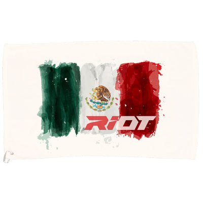 White Game Towel with Riot Mexico Watercolor Logo