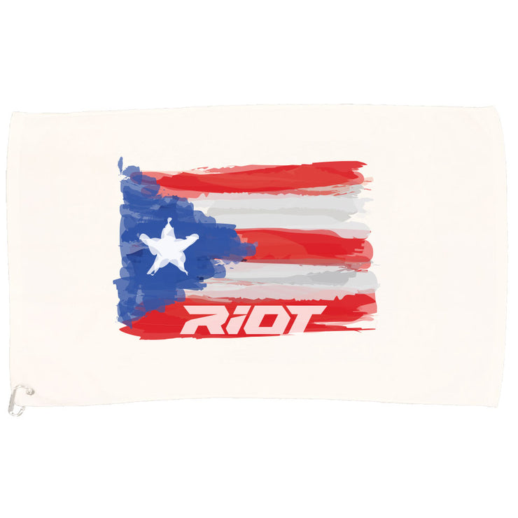 White Game Towel with Riot Puerto Rico Watercolor Logo