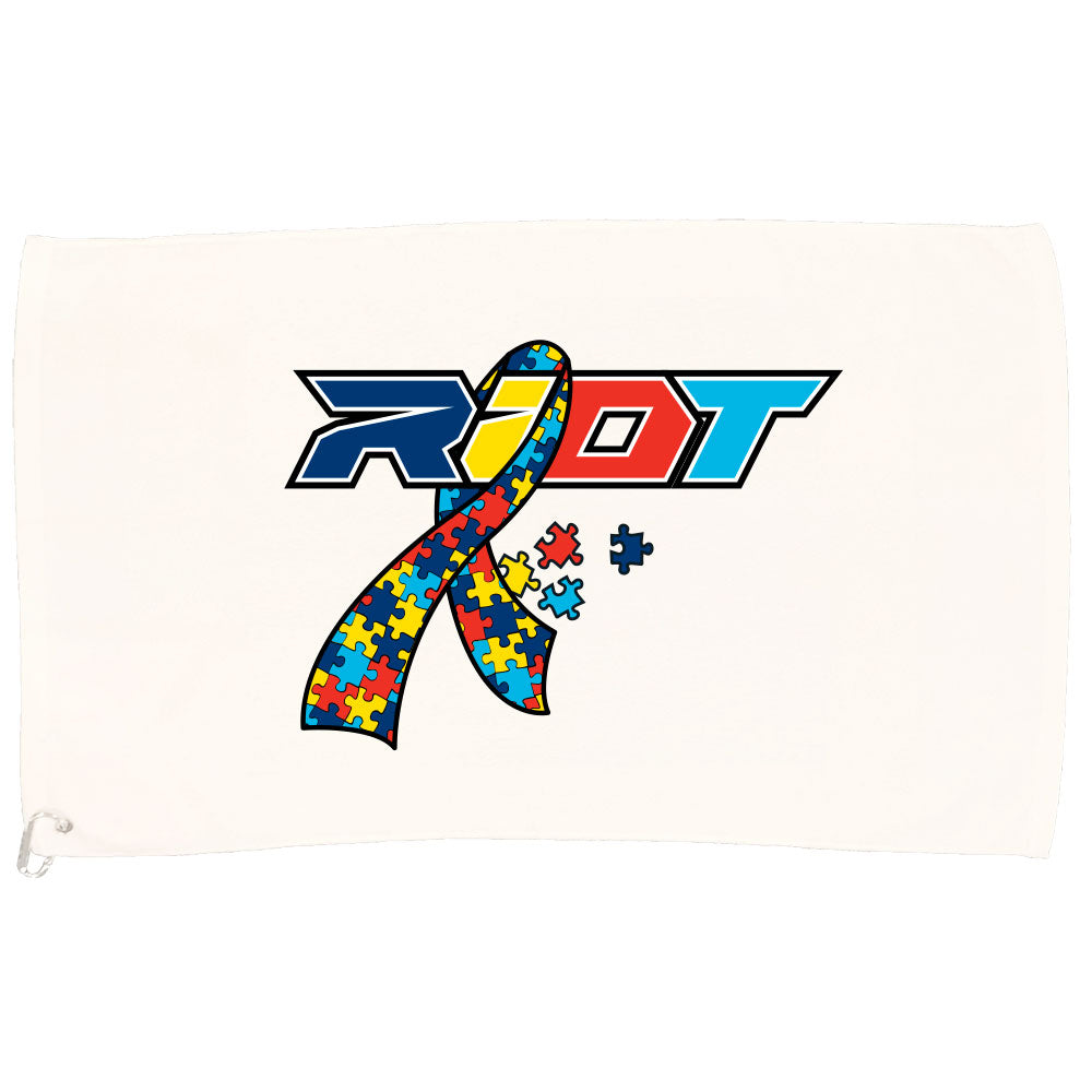 White Game Towel with Autism Ribbon Riot Logo