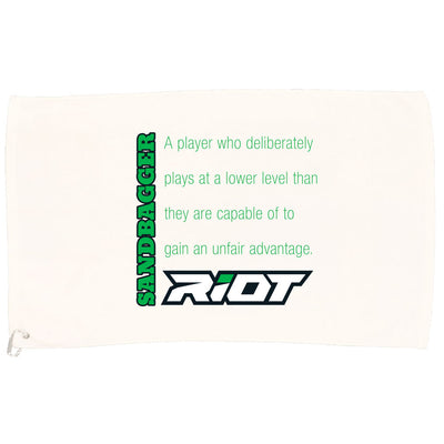 White Game Towel with Sandbagger Definition Riot Logo