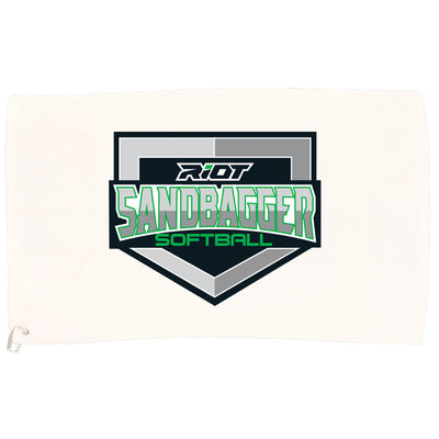 White Game Towel with Sandbagger Riot Logo