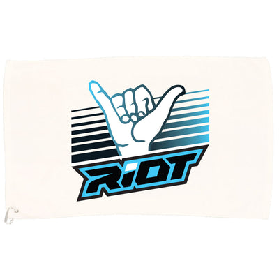 White Game Towel with Shaka Hand Riot Logo (Choose your color logo)