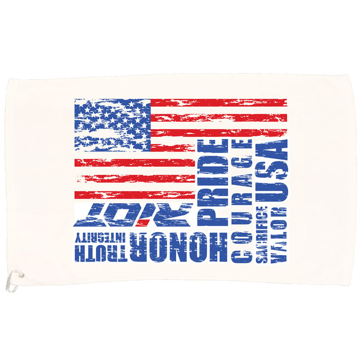 White Game Towel with USA Honor Valor Pride Riot Logo