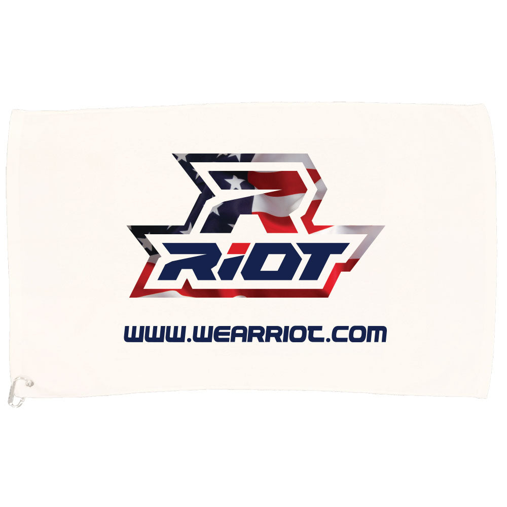 White Game Towel with USA Riot Logo