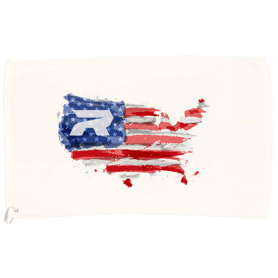 White Game Towel with Riot USA Watercolor Logo