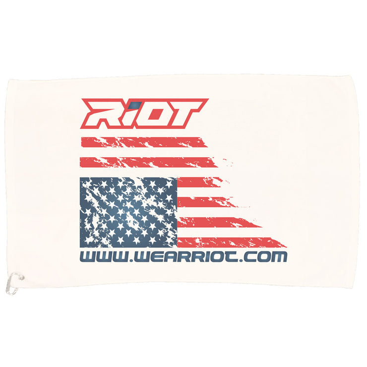 White Game Towel with US Flag Riot Logo