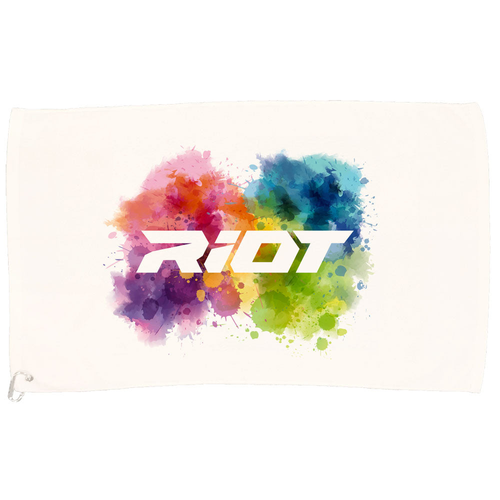 White Game Towel with Riot Watercolor Logo