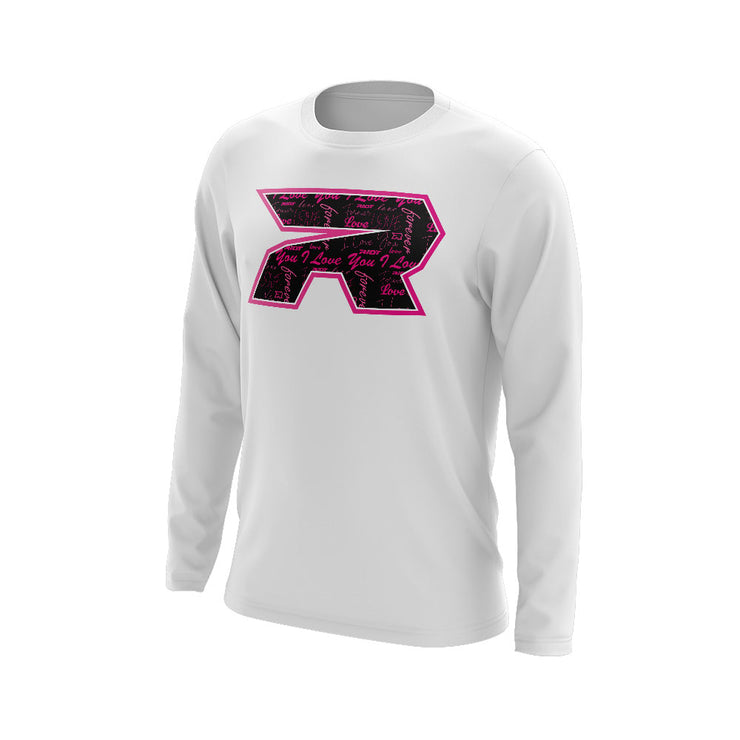 White Long Sleeve with Riot Valentines Day Pattern Logo