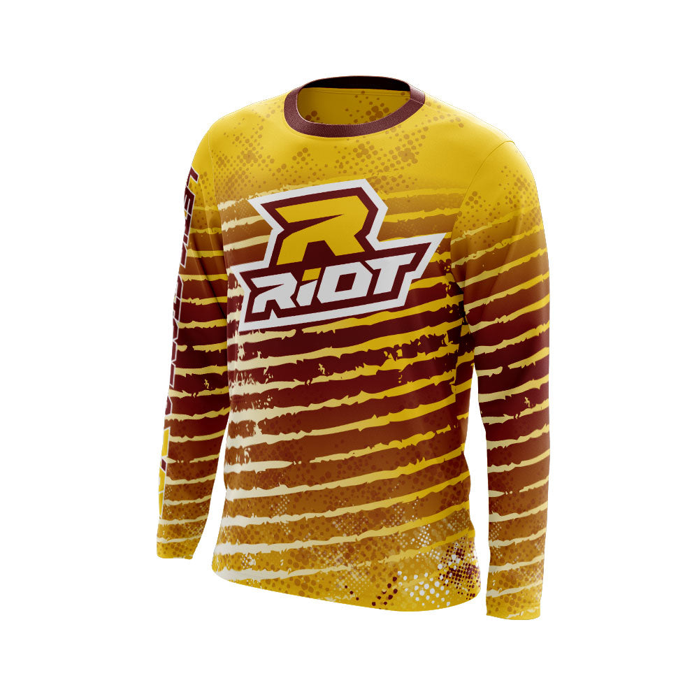 Multi-Color White Maroon Gold Full Dye Long Sleeve Riot Jersey